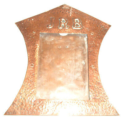 Fine Scarce Arts & Crafts Copper Hammered Photo / Picture Frame 'JRB' Initial