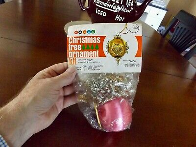 NIP Vintage 1971 Walco #3404 CHERRY PINK SATIN Beaded Christmas Ornament Kit