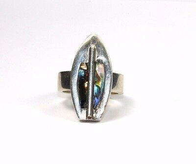 Vintage Mexico Cmma Hac Signed Abalone Modern Ring Sz 8 925 Sterling Rg161