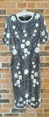 877546c1d24 SCALA VINTAGE BLACK and White Beaded Silk Dress - Size S -  55.99 ...