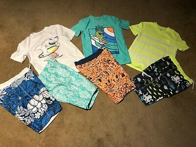 Lot of 4 Bathing Suit Shorts and 3 matching shirts GAP Boys XL