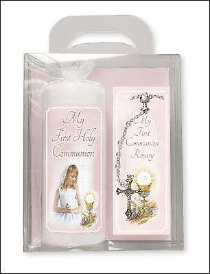Communion Pillar Candle Rosary Set - Girls C86502