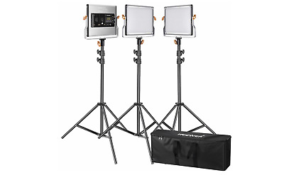Neewer 3 Packs Dimmable Bi-color 480 LED Video Light and Stand Lighting Kit:3200