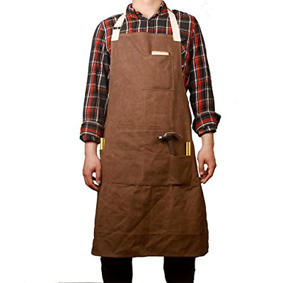 Hense Unisex Heavy Duty Waxed Canvas Workman Engineers Carpenter Apron With Wate