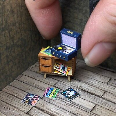 1:48 Record Player Cabinet- Dollhouse Miniature- Quarter Scale Mid Century