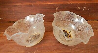 Antique Victorian Etched Glass Shades