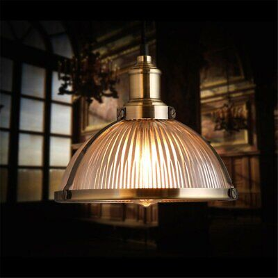 Kitchen Chandelier Industrial Pendant Light Ribbed Glass Bronze Ceiling Lamp New