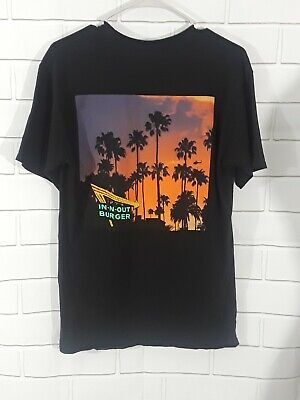 In & Out Burger California Graphic Tee Black Palm Tree Scene Sz M unisex