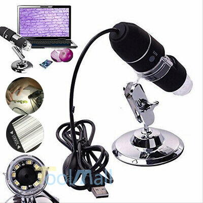 8 LED USB 2.0 Digital Microscope 1000X Endoscope Zoom Camera Magnifier w/Stand