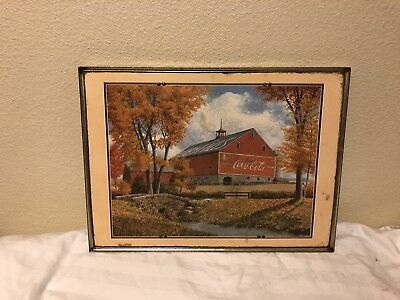 Vintage Coca Cola Advertising Poster Framed Ruby Falls Country Side Barn Coke