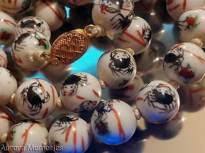 """Vnt Chinese Hand Paint Crab Symbol 109g White Porcelain Bead Necklace 23"""""""