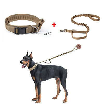 Tactical Military Adjustable Nylon Heavy Duty Dog Collar Metal Buckle Leash Set