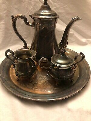 Vtg Newport By Gorham 4 Piece Tea Pot Set Silverplated