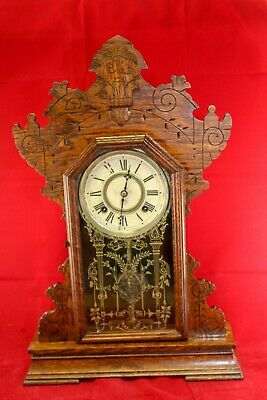 Antique 1904 Ansonia Wood Kitchen Gingerbread Mechanical Eight Day Clock