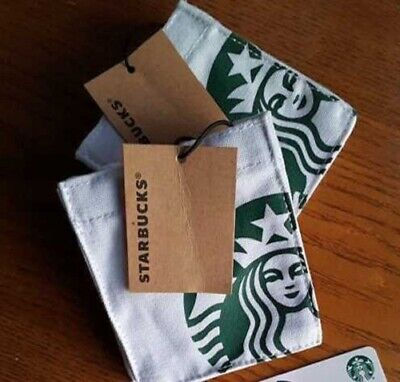 NEW lot of TWO Starbucks 2019 canvas MINI-TOTES + GIFT CARDS graduation/bday/etc