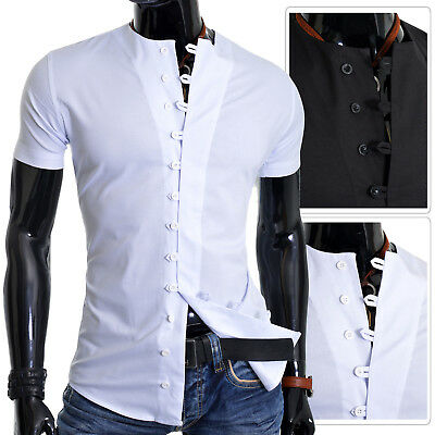9754250ccdd456 Casual Camicie da Uomo senza collo Manica Corta Slim Fit Bottoni Loops S-3XL