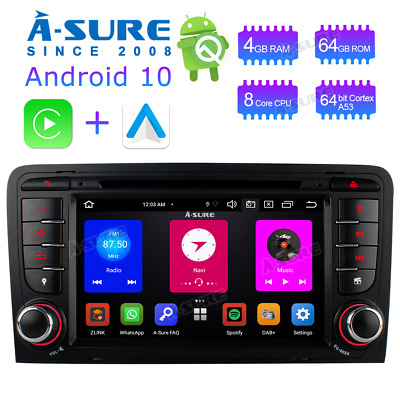 Autoradio Android 9.0 DVD GPS Multimedia 32GBROM BT Audi A3 S3 RS3 8P 8V 8PA DAB
