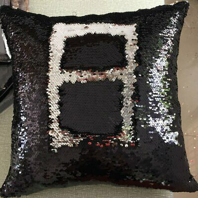 Two-color sequined pillowcase 8 black + silver D4
