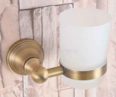 Antique Brass Wall Mounted Toothbrush Holder Bathroom Accessories with Glass Cup