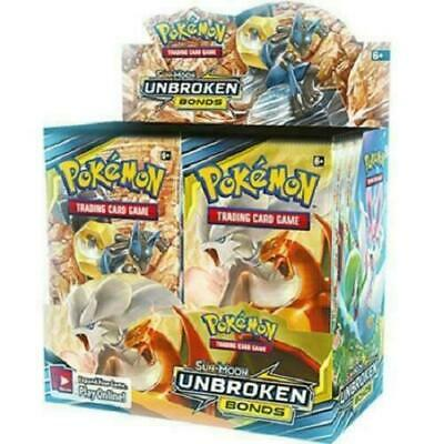 Pokemon Unbroken Bonds Sun & Moon Booster Box Factory Sealed 36 packs