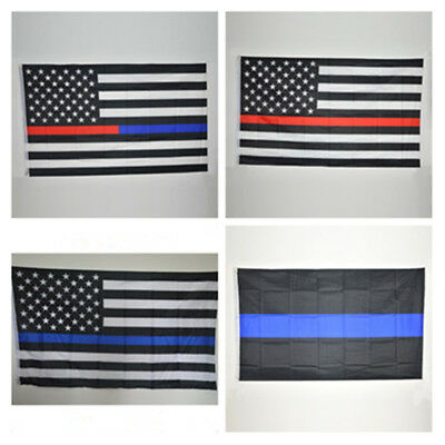 Thin Blue Red Line Trump USA Flag Police Law Firefighter 3x5ft