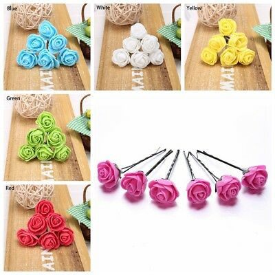 10xSmall Rose Flower Hair Pins Wedding Bridal Flowers Women Girls Hair Accessory