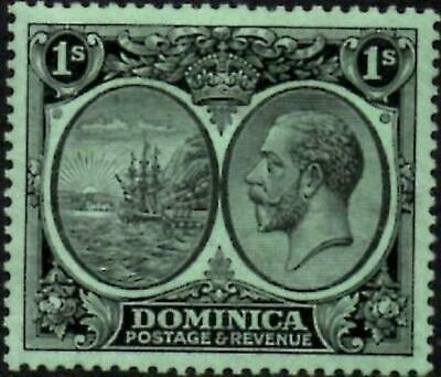 Dominica 1923 George V  1/- Black on Emerald Paper  SG.83  Mint (Hinged)
