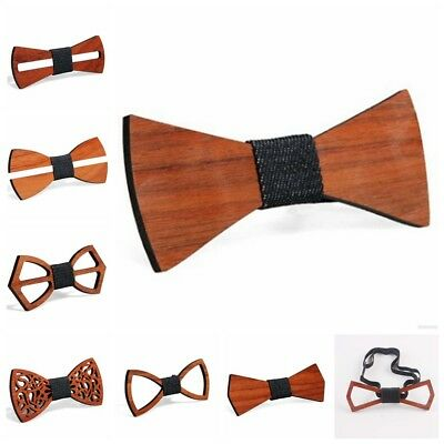 Fashion Men Handmade Wooden Bow Tie Novelty Wedding Wood Tuxed Bowtie Necktie