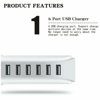 5 Port USB Charging Station Desktop Charger Rapid Tower Power Adapter 30W 6A Q8