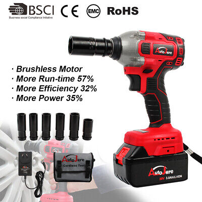 Cordless Electric Impact Wrench Brushless Rattle Gun Sockets Torque 1/2'' chuck