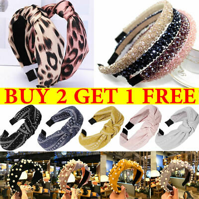 Women's Cute Headband Alice Band Top Knot Twist Plain Headband Crystal Hair Band
