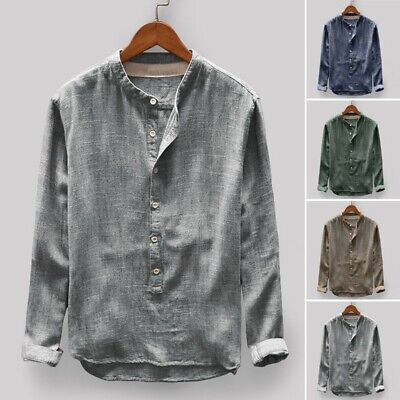 Mens Collarless Long Sleeve Shirt Holiday T Shirt Party Formal Cotton Linen Tops