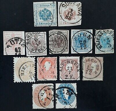 RARE 1850- Austria lot of 13 Coat of Arms & Franz Josef stamps Used