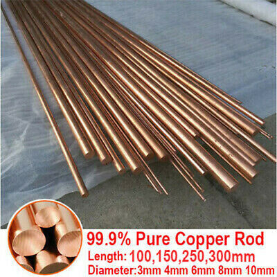 Round Pure Copper Rod Bar Metal 99.9% Length 100mm 150mm 250mm Dia 3mm - 10mm