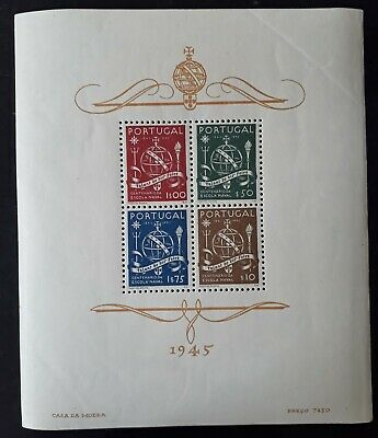 RARE 1945 Portugal 100th Anniversary of the Maritim School Minisheet MUH