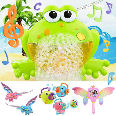 Kid Baby Bubble Tub Frog Automatic Shower Machine Blower Maker Bath Music Toys