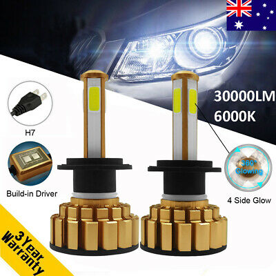 110W 30000LM H7 Canbus Error Free 4 Sides Glow Car LED Headlight Lamp Kit 6000K
