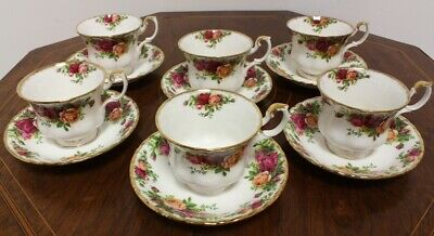 Royal Albert Old Country Roses Set Of 6 Tea Cups And Saucers