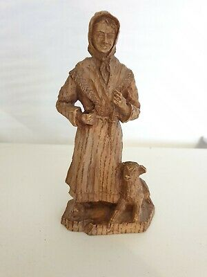 Vintage Wood Carved Figure Old Lady with Dog  Swiss / Black Forest 16cm tall
