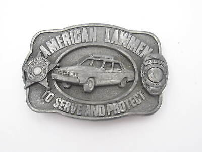 """VTG 1983 American Lawmen To Serve and Protect Sikiyou Belt Buckle (A58) """"Broken"""""""