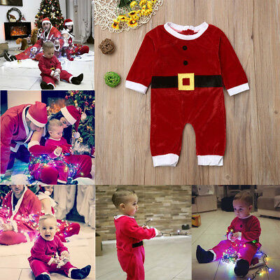 aed4f1f58 Baby Boys Girls Christmas Velvet Santa Claus Costume Clothes Set Romper  Jumpsuit