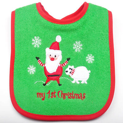 1Pc Babys Waterproof Bibs Fabric Embroidered Toddler Bib Bavoir Christmas Gifts