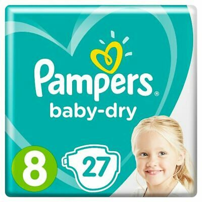 Pampers Baby Dry Taped Size 8 Essential Pack 27 Nappies