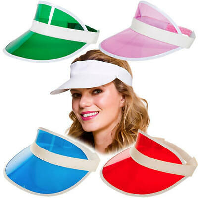 ff74958b Pub Golf Visors Adults Fancy Dress 80s Neon Tennis Hat Unisex Costume  Accessory
