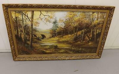 Framed Mid Century Oil Painting Autumn On The River Denham Bridge Devon Tavy