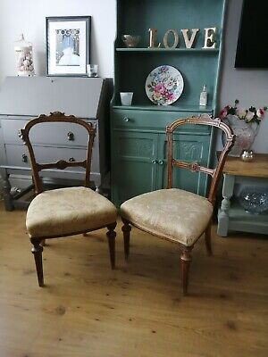 Pair Of Victorian Walnut Childs Chairs.