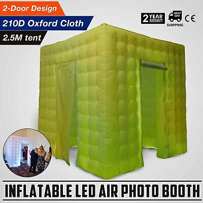 2 Door Inflatable LED Air Pump Photo Booth Tent Spacious Built-in Blower Proms