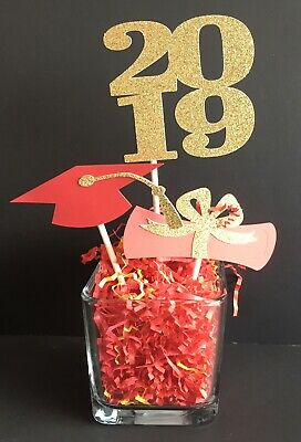 2019 Graduation Centerpiece Props Party Year Diploma Cap Glitter Choose Colors