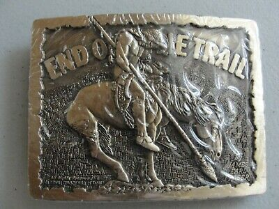 Vintage  **End Of The Trail** Solid Brass Belt Buckle