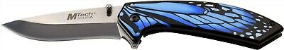 Mtech MTA1005BL Blue Butterfly Wing Straight Stainless Folding Pocket Knife